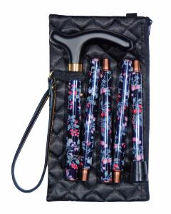 Folding Handbag Cane, black floral, wallet