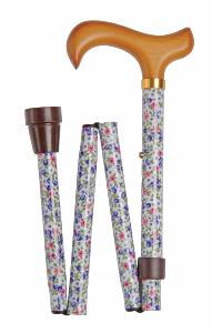 Folding Value Cane, <br>white floral