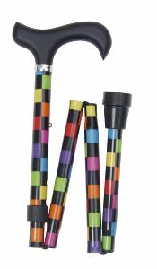 Folding Sassy Cane, <br>multicoloured chequerboard