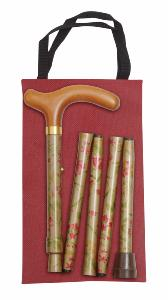 Folding Handbag Cane, gold floral, wallet