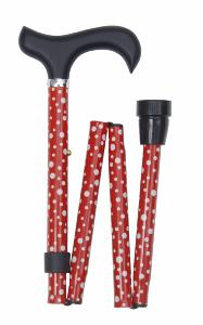 Folding Sassy Cane, <br>red and white