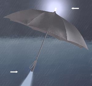 Illuminated umbrella, black canopy