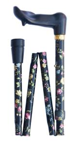 Folding orthopaedic cane, black floral, right