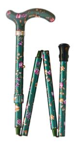 Folding Petite Cane, <br>green floral