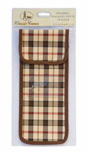 Wallet For Folding Stick, <br>brown/cream check, individually packaged