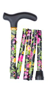 Folding handbag stick, tropical flowers, black