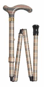 Folding Fashion Petite Cane, <br>cream, black & red small check