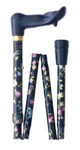 Folding orthopaedic cane, black floral, left