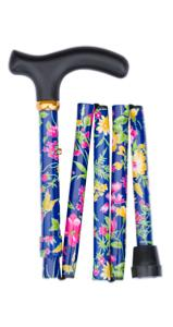 Folding handbag stick, tropical flowers, dark blue
