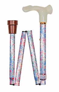 Folding Anatomical Cane, muted floral, left hand
