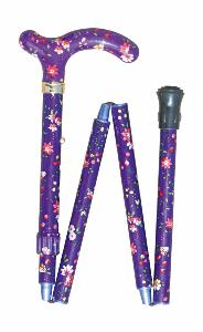 Folding Petite Cane, <br>purple floral