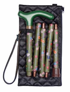 Folding Handbag Cane, green floral, wallet
