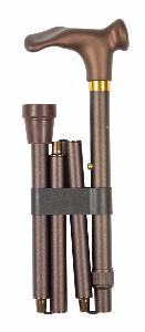 Folding Anatomic Cane, brown soft-touch, left hand
