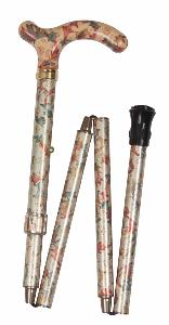 Folding Petite Cane, <br>cream/red/green floral