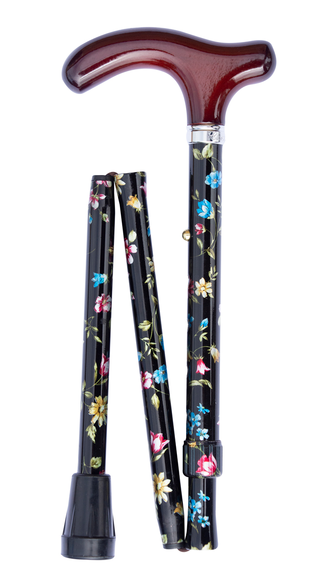 Folding cane, ultra petite, black floral