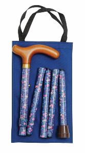 Folding Handbag Cane, navy sprigged floral, wallet