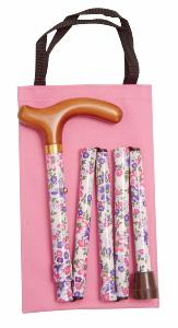 Folding Handbag Cane, white/pink/purple floral, wallet