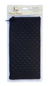 Wallet For Folding Stick, <br>black quilted, individually packed
