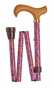 Folding Value Cane, <br>pink floral